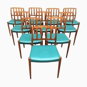 Esszimmerstühle aus Teak von Niels Møller für J.L. Møllers, 1960er, 10er Set