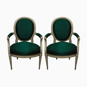 Antique French Armchairs, 1780s, Set of 2