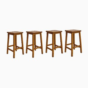 Vintage English Beech Stools, Set of 4