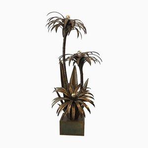 Lámpara de pie en forma de palmera de latón de Maison Jansen, años 70