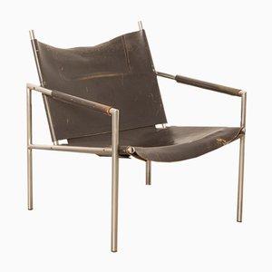 SZ02 Stuhl mit Sitz aus Leder & Chromgestell von Martin Visser für t Spectrum, 1960er