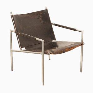 Sedia SZ02 in metallo cromato e pelle di Martin Visser per 't Spectrum, anni '60