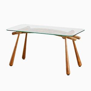 Table Basse avec Plateau en Verre par Max Kment pour Kunstgewerbliche Werkstätten, Autriche, 1950s