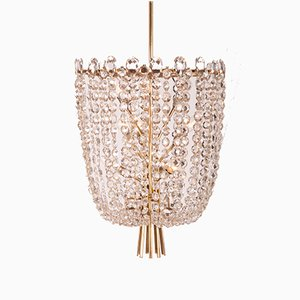 Cut Crystal Rondino Chandelier by J.T. Kalmar, 1950s