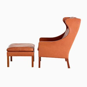 Model 2204 Wing Chair & Model 2202 Ottoman by Børge Mogensen for Fredericia, 1970s