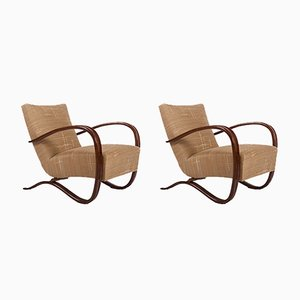 Beech H-269 Lounge Chairs by Jindřich Halabala for Thonet, 1920s, Set of 2