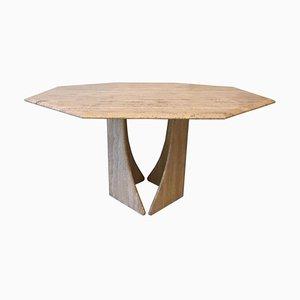 Mesa de comedor octogonal de travertino, años 70