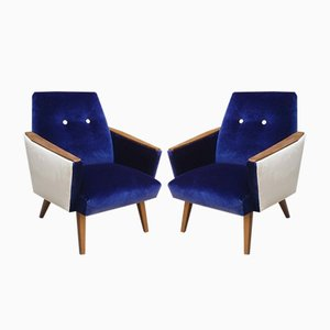 Danish Blue Velvet Lounge Chairs, 1960s, Set of 2