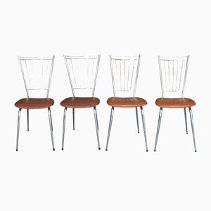 Französische Esszimmerstühle aus Eisen & Kunstleder, 1970er, 4er Set