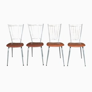 French Iron and Leatherette Dining Chairs, 1970s, Set of 4