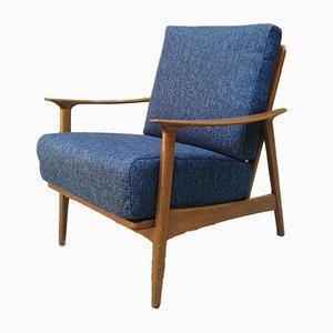 Sessel mit Denimbezug & Gestell aus Buche, 1960er