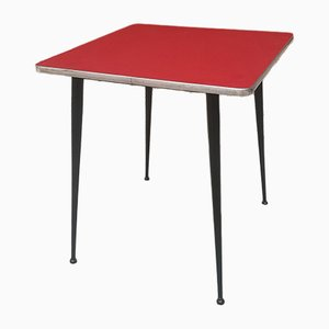 Mesa de comedor italiana Mid-Century de formica roja, años 60
