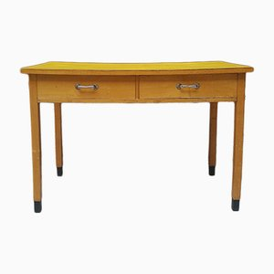 Mid-Century Italian Beech and Formica Worktable, 1960s