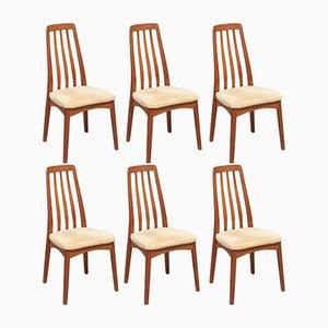 Eva Esszimmerstühle aus Teak von Niels Koefoed für Koefoeds Møbelfabrik, 1960er, 6er Set