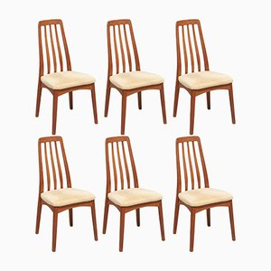 Teak Eva Dining Chairs by Niels Koefoed for Koefoeds Møbelfabrik, 1960s, Set of 6