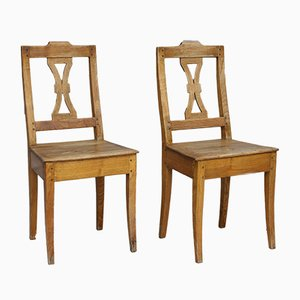 Antique Hand-Crafted German Ash Dining Chairs, Set of 2