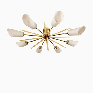 Large Mid-Century Brass and Glass Flush Mount Ceiling Lamp from Rupert Nikoll, 1950s