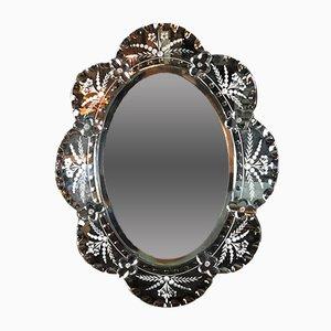 Espejo floral vintage ovalado, años 70