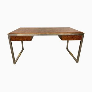 Burl Wood and Brass Desk by Guy Lefevre for Maison Jansen, 1970s
