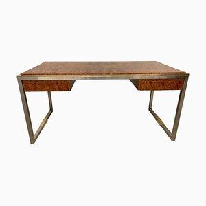 Schreibtisch aus Wurzelholz & Messing von Guy Lefevre für Maison Jansen, 1970er