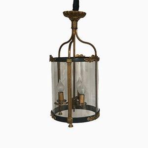 Lámpara de araña francesa estilo Imperio de latón dorado, años 60