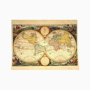 Antike niederländische Weltkarte von by N. Visscher, 1677