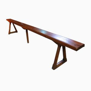 Antique French Cherry Wood Bench from Rubis Legras