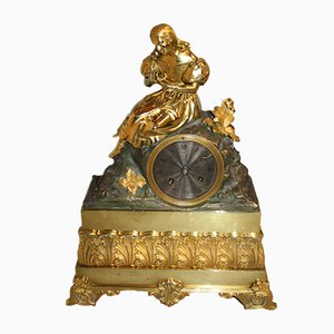 Antique Empire French Bronze and Gold Clock