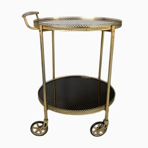 Mid-Century Brass & Compressed Wood Serving Trolley, 1950s