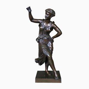 Escultura de bailarina francesa Mid-Century de bronce de Dumaige Henry Etienne, años 50