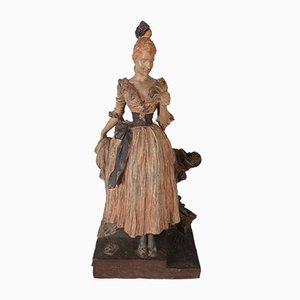 Antike französische Liebesbrief-Skulptur aus Schmiedeeisen von Georges Van der Straeten