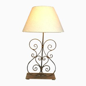 Vintage French Wrought Iron Table Lamp, 1980s
