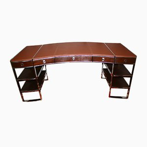 Art Deco French Chrome Plating and Leather Desk, 1980s