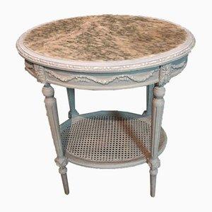 Mesa pedestal francesa estilo Luis XVI antigua de cristal de Murano con tablero de mármol