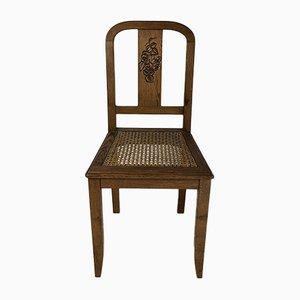 Chaises d'Appoint Mid-Century en Chêne et Jonc, 1950s, Set de 2