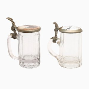 19th Century German Glass Beer Steins, Set of 2