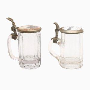 Jarras de cerveza alemanas de vidrio, siglo XIX. Juego de 2