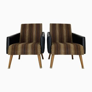Beech & Textile Lounge Chairs, 1960s, Set of 2