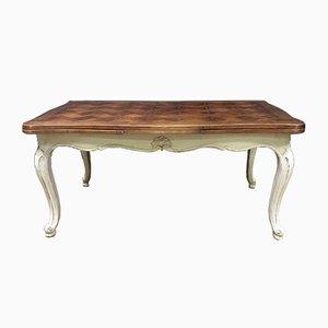 Mesa de comedor francesa antigua extensible de nogal
