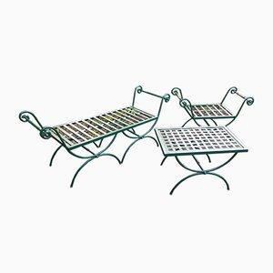 Italienische Curule Gartenmöbel aus Grün Lackiertem Eisen, 1950er