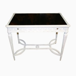 Mid-Century French Louis XVI White Glass and Wood Desk, 1960s