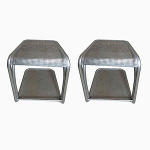 Vintage French Chrome Plated Side Tables, 1970s, Set of 2