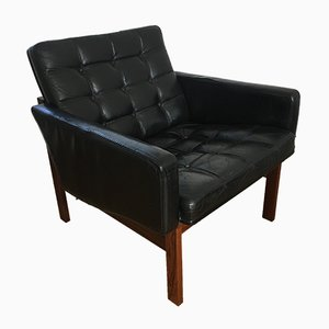 Rosewood & Cow Leather Lounge Chair by Ole Gjerløv-Knudsen & Torben Lind for France & Søn, 1960s
