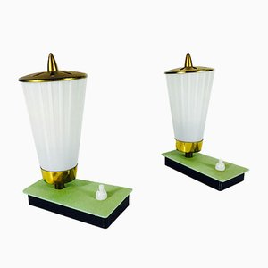 German Glass and Brass Table Lamps, 1960s, Set of 2