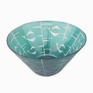 Cuenco alemán artesanal de cristal, años 50