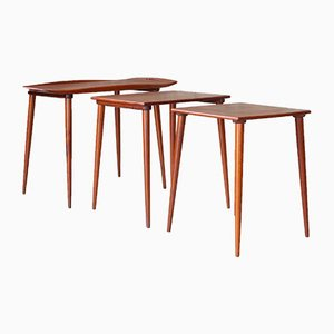 Tavolini in teak di Jens Quistgaard per Nissen, Danimarca, anni '60, set di 3