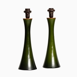 Glass & Teak Table Lamps by Berndt Nordstedt for Bergboms, 1960s, Set of 2