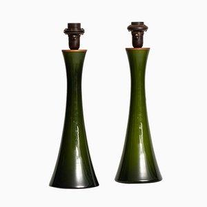 Lámparas de mesa de vidrio y teca de Berndt Nordstedt para Bergboms, años 60. Juego de 2