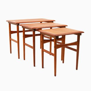 Tavolini ad incastro Mid-Century in teak, Danimarca, anni '60