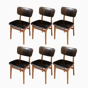 Chaises de Salle à Manger en Cuir et Acajou par Gustav Bertelsen, 1950s, Set de 8